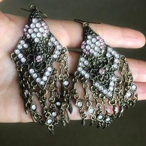 ANTHROPOLOGIE Pink and bronze chandelier earrings